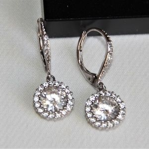 Sterling Silver Faceted Halo CZ Drop Earrings